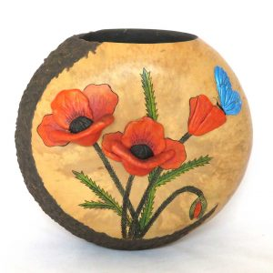 A decorative gourd container with a butterfly and poppies
